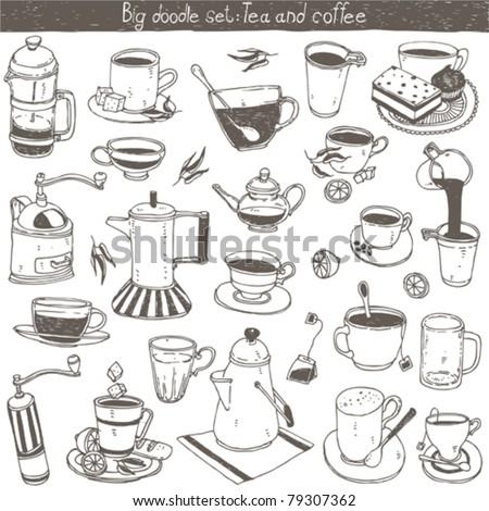 doodle set - coffee and tea design elements - stock vector