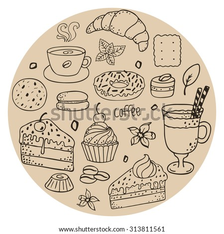Doodle set - coffee, bakery, cookies, biscuits. Dessert set