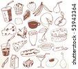 Doodle set - food - stock vector