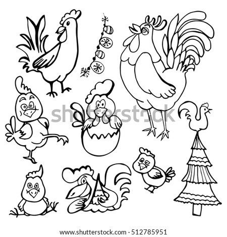 doodle set funny cocks. black and white drawing.Tree, New Year, the chicken in the egg. simple drawing