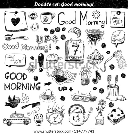 doodle set - good morning - stock vector