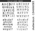 Doodle set: hand drawn alphabet - stock vector