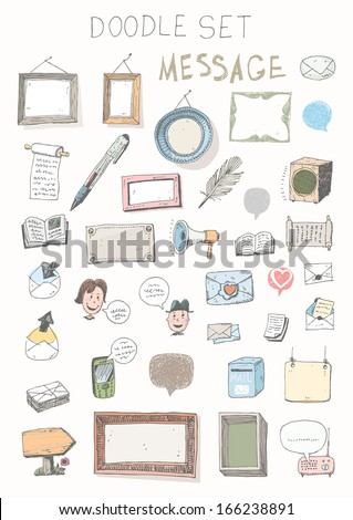 Doodle set - messages - stock vector