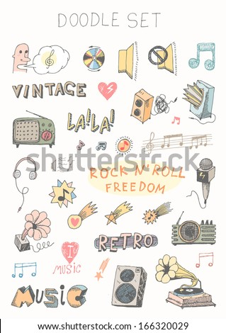 Doodle set - music - stock vector