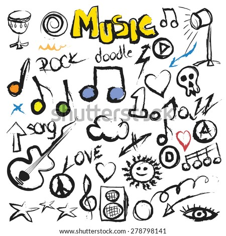 doodle set music background, vector illustration grunge icon - stock vector