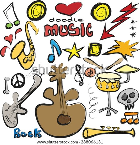 doodle set music isolated on white background, vector illustration grunge icon - stock vector