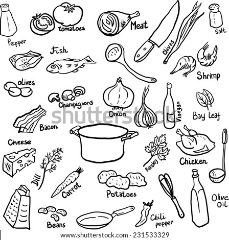 Kitchen Objects Drawing of Components And Utensils