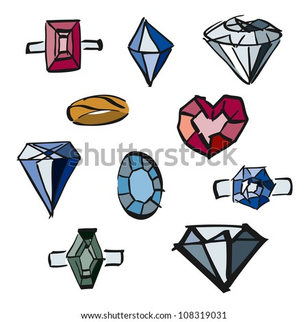 doodle set of diamonds, precious stones, precious metal, jewelry - stock vector