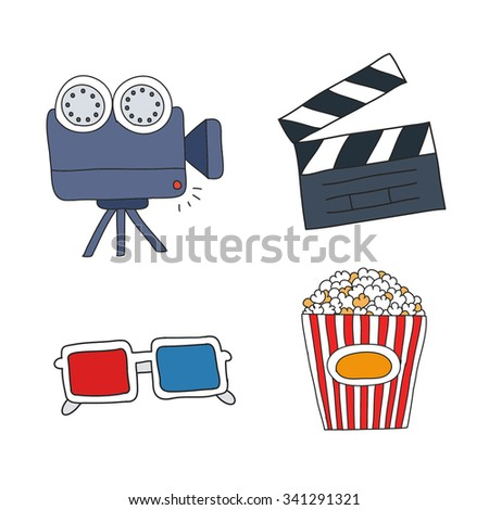 doodle set of movie and cinema icons. vector illustration - stock vector