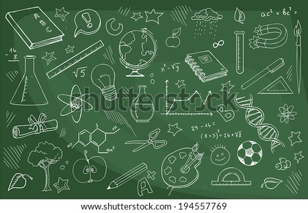 doodle set of school related items, vector illustration - stock vector