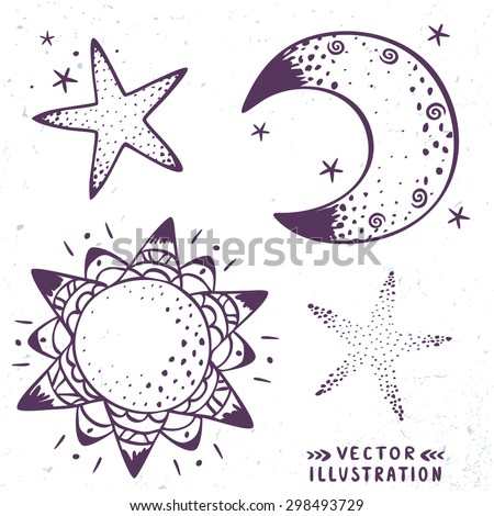 Doodle set of silhouettes of the moon, the stars and sun. Vector illustration - stock vector