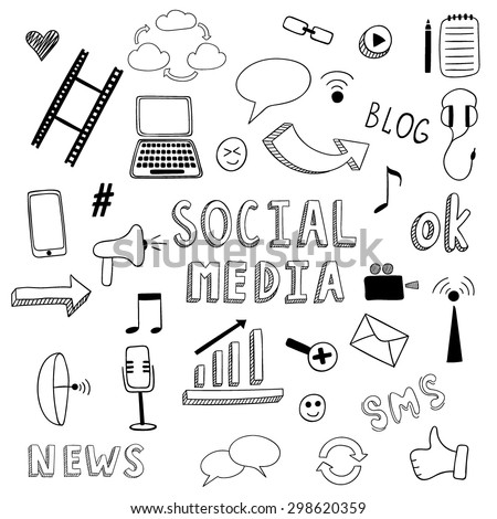 Doodle set of social media elements. ?and drawn notebook, camera, smartphone and other doodles.