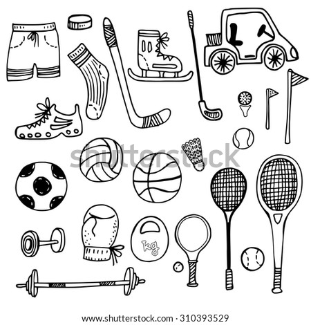 doodle set of sports equipment. hand drawn vector illustration. - stock vector