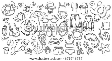 doodle set of swimming goods for kids vector icons illustration on white background sketch