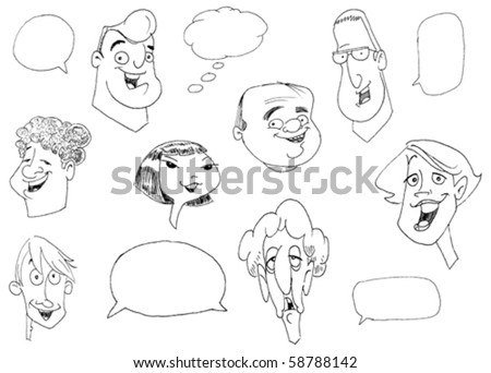 Doodle set of various people faces - stock vector