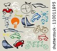 Doodle set of various vehicles, bicycle, cars, scooters, ships, sail - stock vector