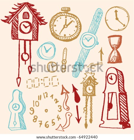 doodle set - time - stock vector