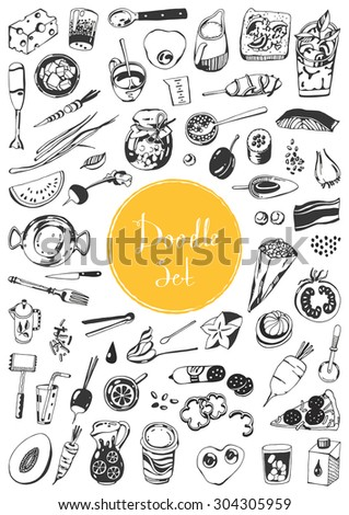 Doodle set - time to cook - stock vector