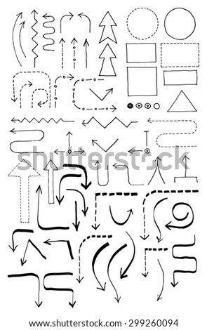 doodle set with arrows blocks and objects for a hard drawn flowchart - Flowchart Blocks