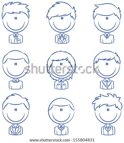 Doodle set with different male avatar - stock vector