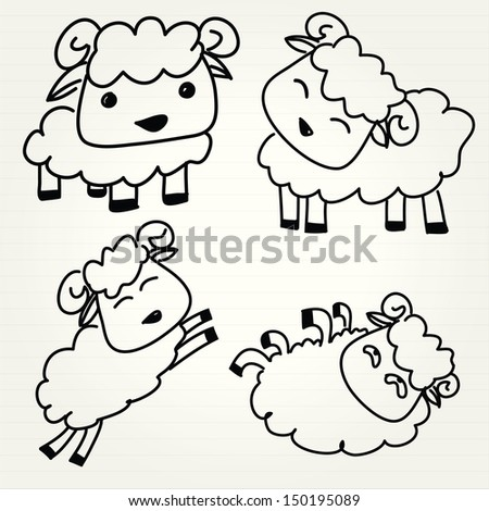 Doodle sheep set - stock vector