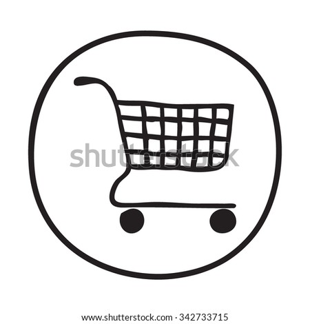 Doodle Shopping Cart icon. Blue pen hand drawn infographic symbol on a notepaper piece. Line art style graphic design element. Web button with shadow. Groceries, sales, supermarket concept. - stock vector