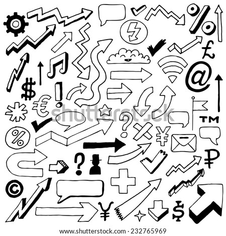 Doodle signs, icons and arrows set. Hand drawn. Vector illustration.