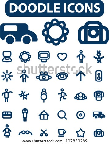 doodle simple icons set, vector