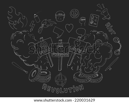 Doodle sketch art. Protest symbols: flames, heart, anarchy, peace, fist, vote, speakerphone, smoke, banners, tires, shackles, baton, baseball bat, police helmet, freedom, revolution, riot. Chalk - stock vector