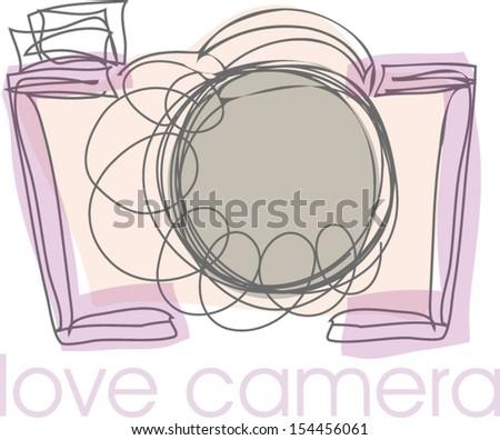 doodle sketch digital camera illustration - stock vector