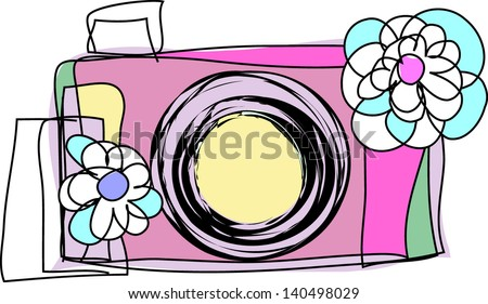doodle sketch digital camera with two flowers illustration - stock vector