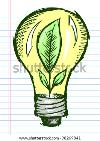 Doodle Sketch Light Bulb with Plant inside Vector Illustration Art - stock vector