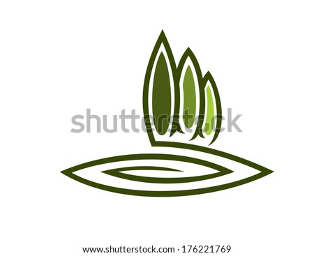 Doodle sketch of a green eco symbol with a row of tall cypresses and a swirl for landscape logo design - stock vector