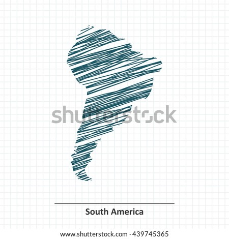 Doodle sketch of South America map - vector