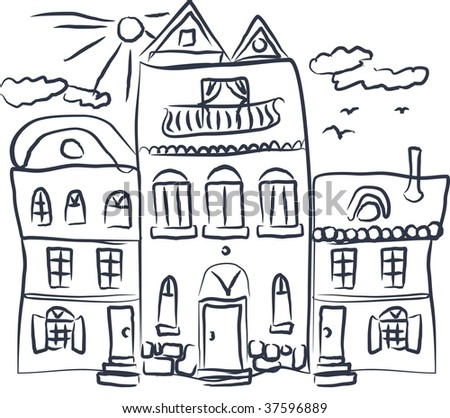 doodle sketch of street in vector - stock vector