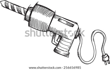 Doodle Sketch Power Drill Vector Illustration Art - stock vector
