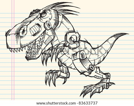 Doodle Sketch Robot Tyrannosaurus Dinosaur Vector Illustration - stock vector