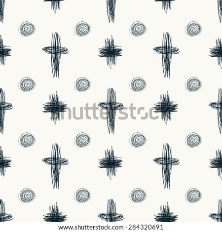 Doodle sketch seamless pattern with circles and crosses. Hand drawn black cross on whit background. Vector - stock vector