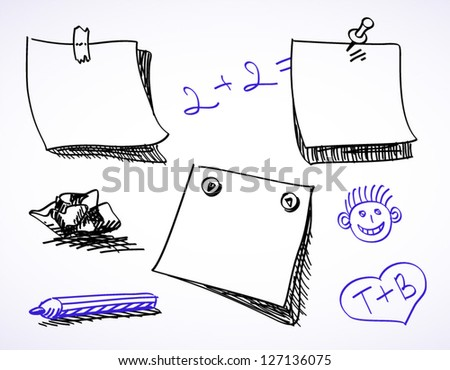 Doodle sketch set of stickers - stock vector