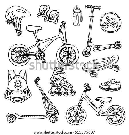 doodle sketch sporting goods for kids vector icons illustration set scooter rollers