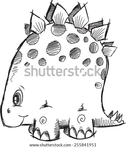 Doodle Sketch Stegosaurus Dinosaur Vector Illustration Art - stock vector
