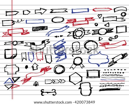 Doodle sketchy Hand drawn sketch hand drawn elements of Banners.Vector illustration - stock vector