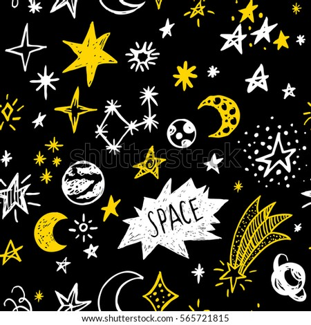 Doodle sketchy rustic space. Seamless pattern.