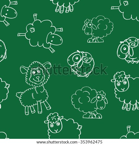 Doodle Sketchy Sheep Lamb seamless or happy Sheep illustration - stock vector