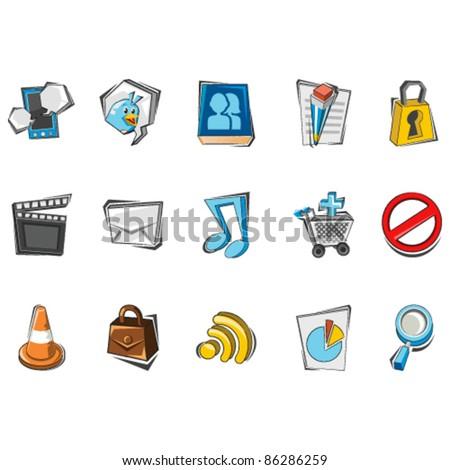 Doodle Social Media Icons - stock vector