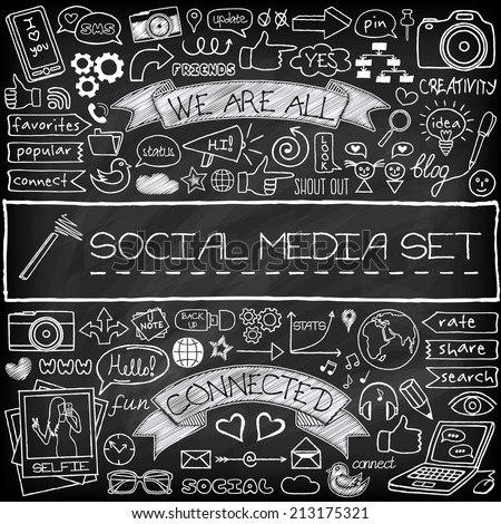 Doodle social media icons set with chalkboard effect. Networking concept with speech bubbles, mobile phone, tags with captions and other design elements - stock vector