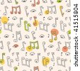 Doodle Song Pattern - stock vector