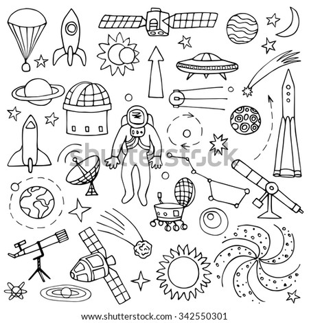 Doodle space elements. Vector illustration with hand drawn doodle space elements - stock vector