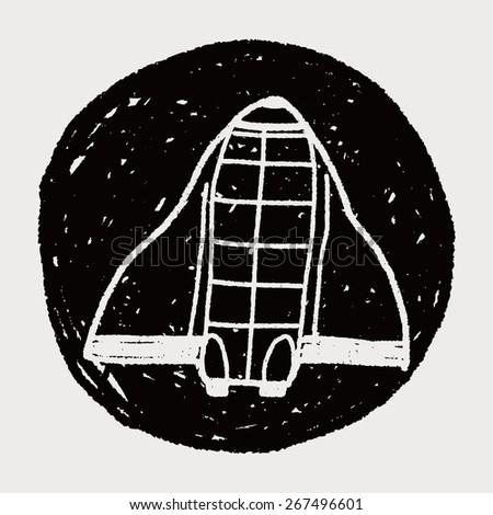 Doodle Spaceship - stock vector