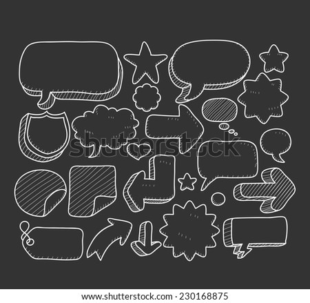 doodle speech bubble icon set